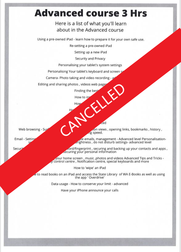 EVENTS CANCELLED - Advanced Digital Classes for over 50's